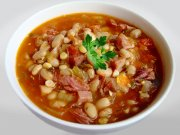 Bean soup with smoked pork knuckle
